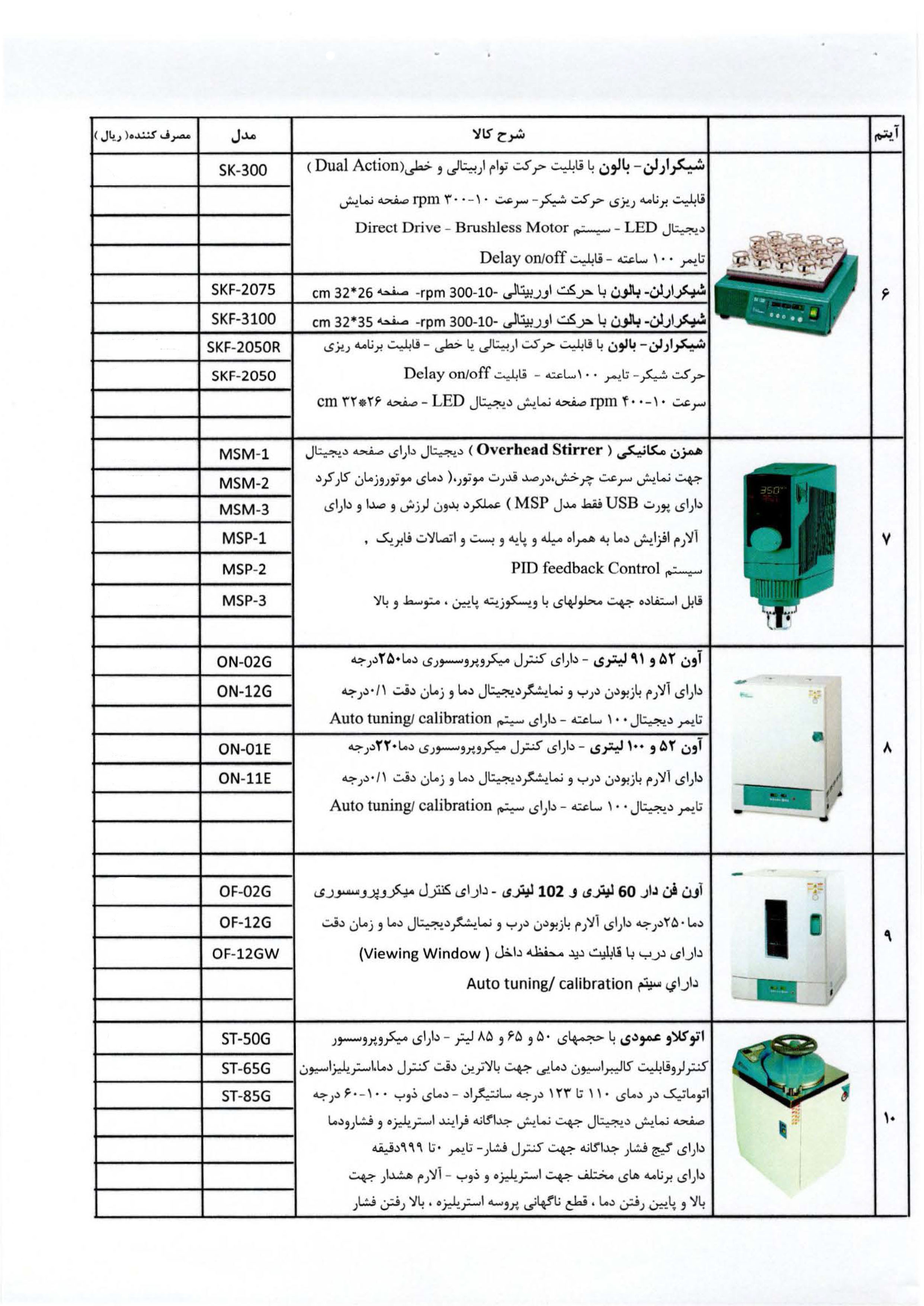 لیست تجهیزات موجود-2